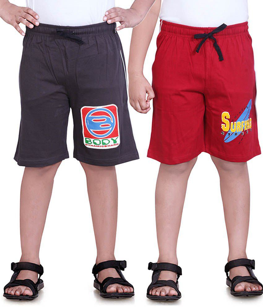 Dongli Red & Brown Cotton Shorts Pack Of 2
