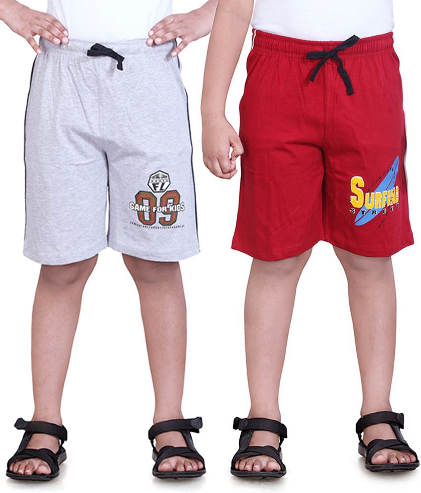 Dongli Red & Grey Cotton Shorts Pack Of 2