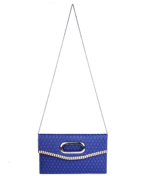 Brendon U.K Blue Designer Hand Clutch For Women