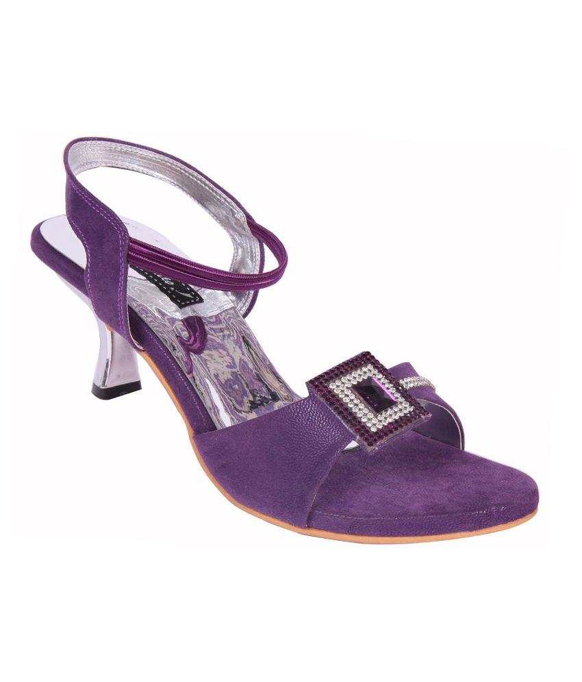 Smalto Purple Kitten Heeled Sandals