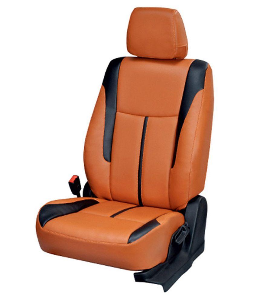 Elaxa Orange PU Leatherite Seat Cover For Maruti Alto 800