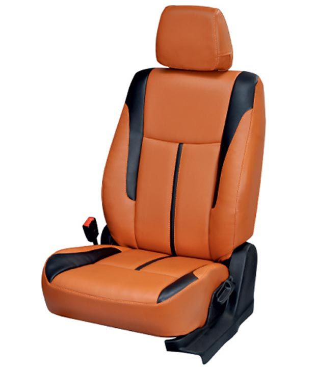 Elaxa Orange PU Leatherite Seat Cover For Maruti Baleno