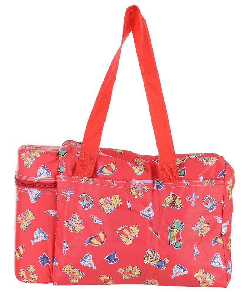 Koochi Koo Red Diaper Bag With Two Warmer Flask