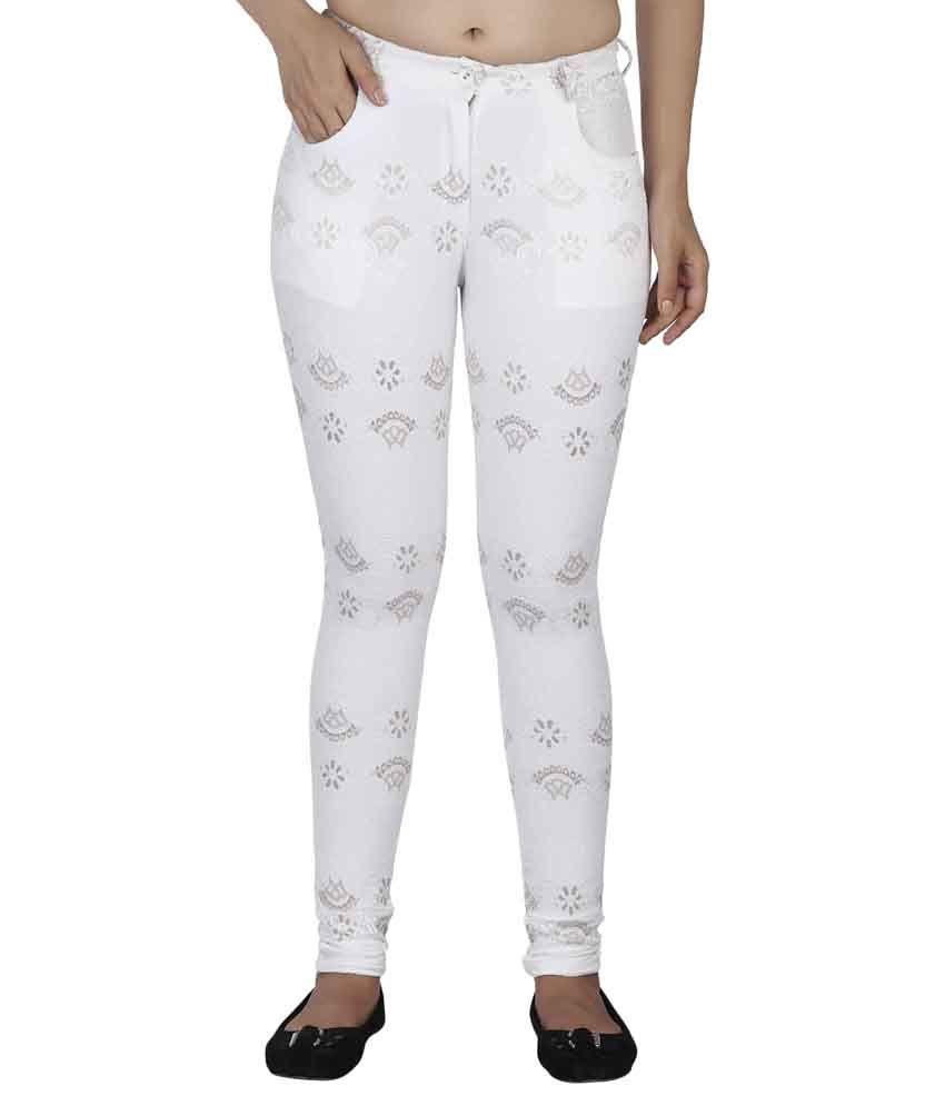 Soie White Cotton Jeggings