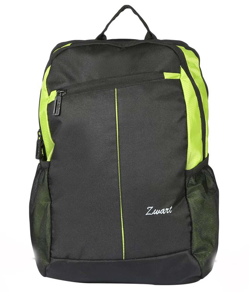Zwart Laptop Compatibility Bag - Flourescent Green