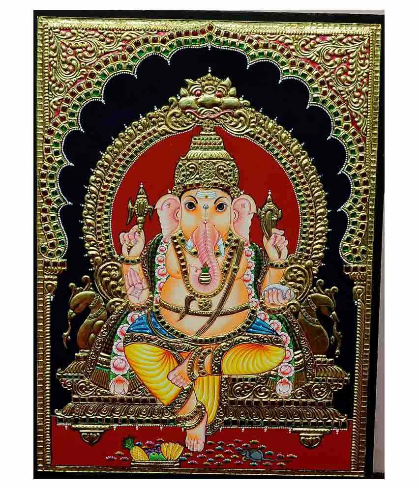 Flashing Rainbows Gold Foiled Arch Ganapathy Religious Painting