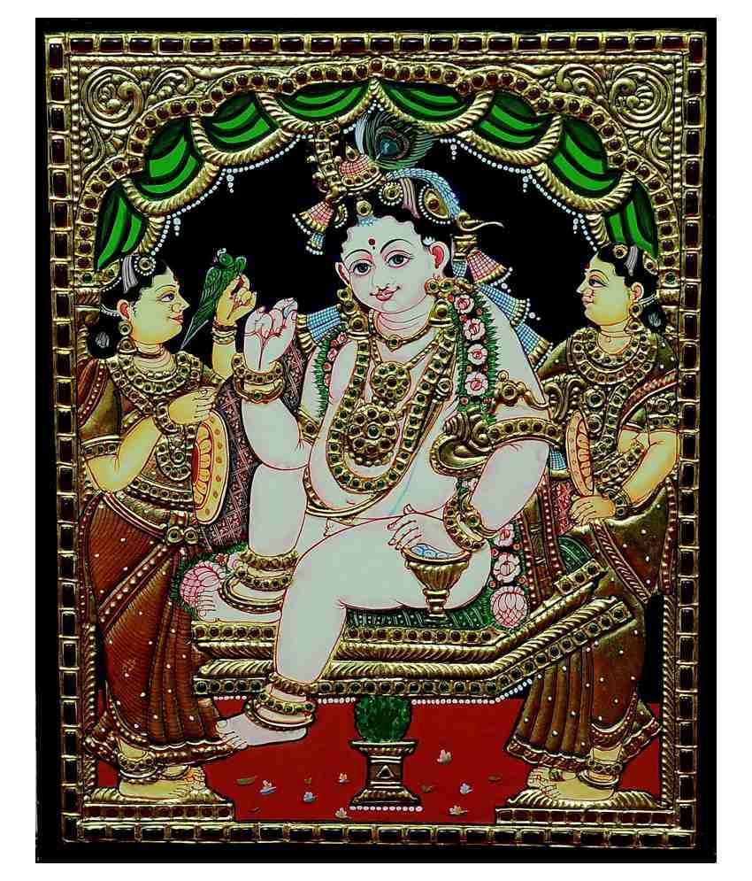 Flashing Rainbows Gold Foiled Darbhar Krishna Religious Painting