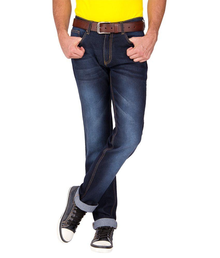 High Star Blue Cotton Blend Jeans