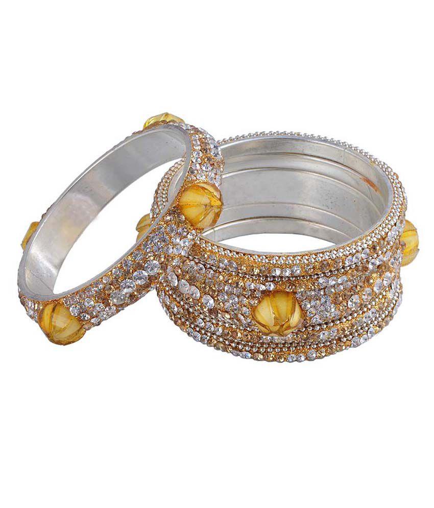 Ridhi Sidhi Collection Yellow Brass Bangle Set