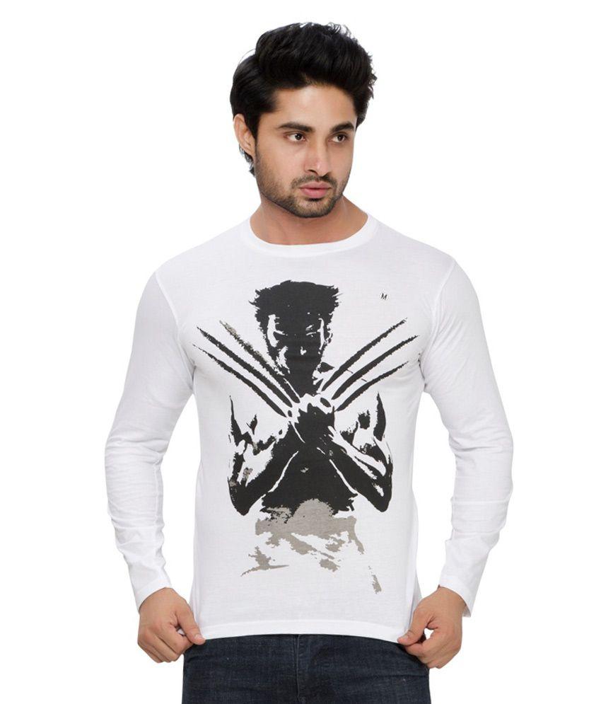 Alan Jones White Wolverine Printed Full Tshirt