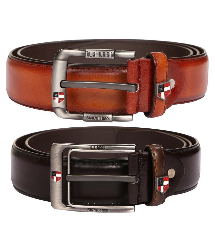 M Leathers Brown & Dark Brown Stylish Leather Belt Set Of 2