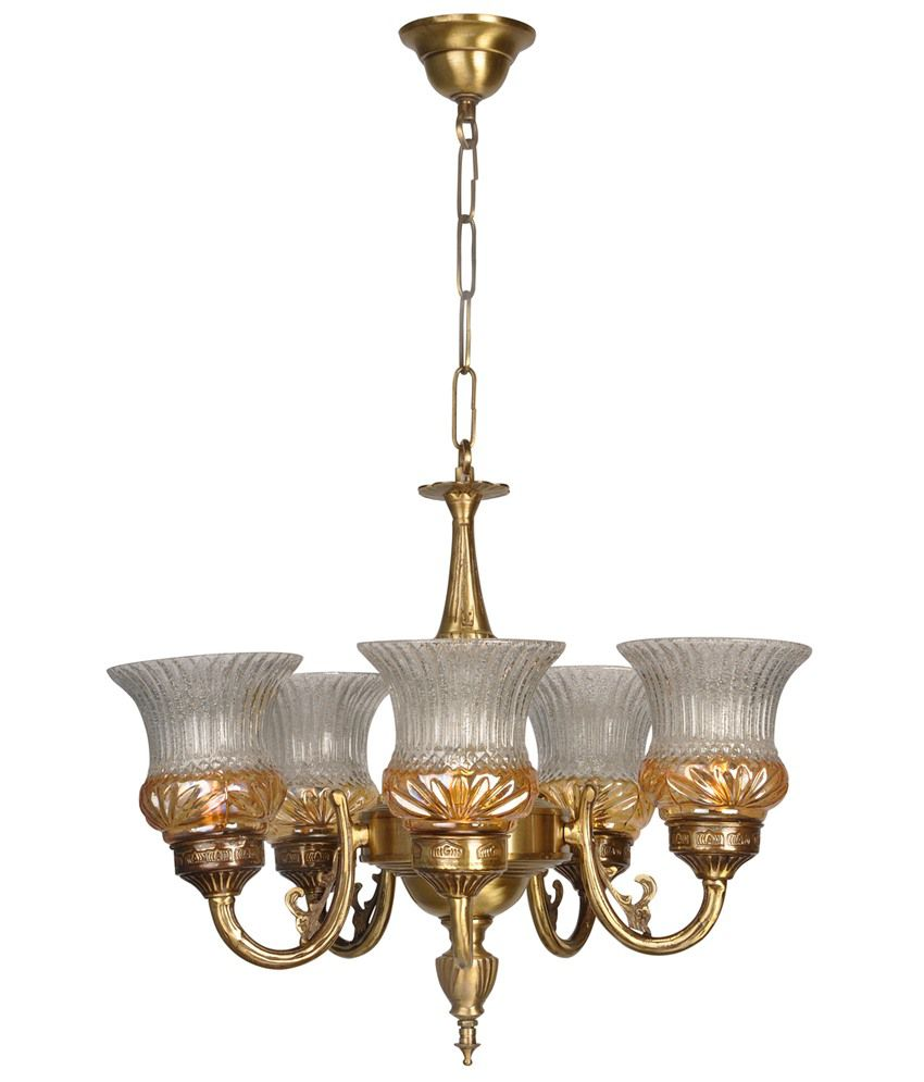 Fos Lighting Lustrous 5 Light Antique Brass Chandelier