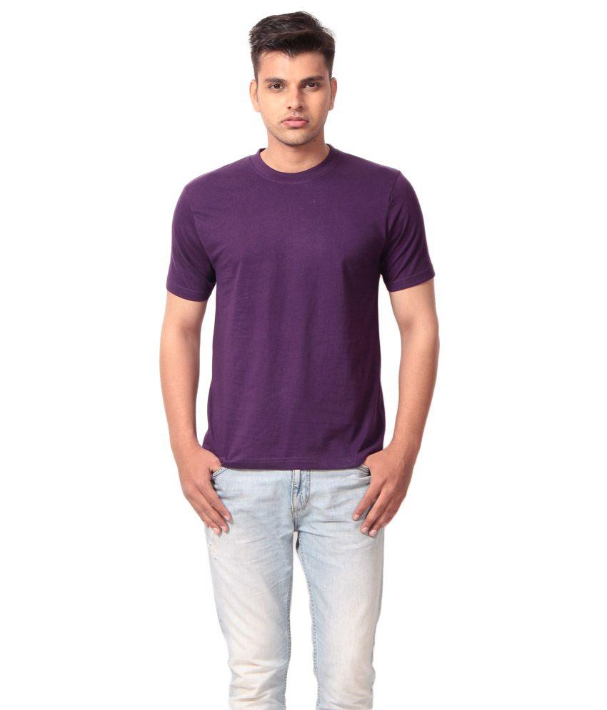Clothe Purple Cotton Blend Round Neck T- Shirt