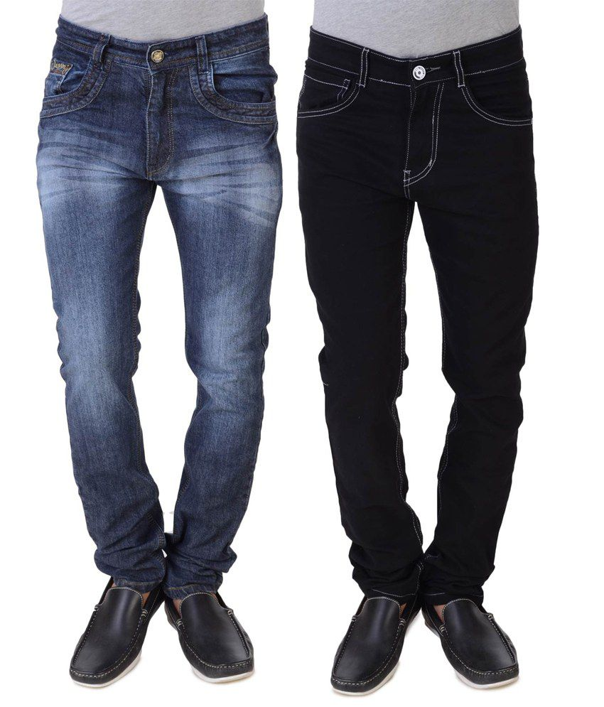 Threads Black And Blue Regular Fit Jeans - Pack Of 2