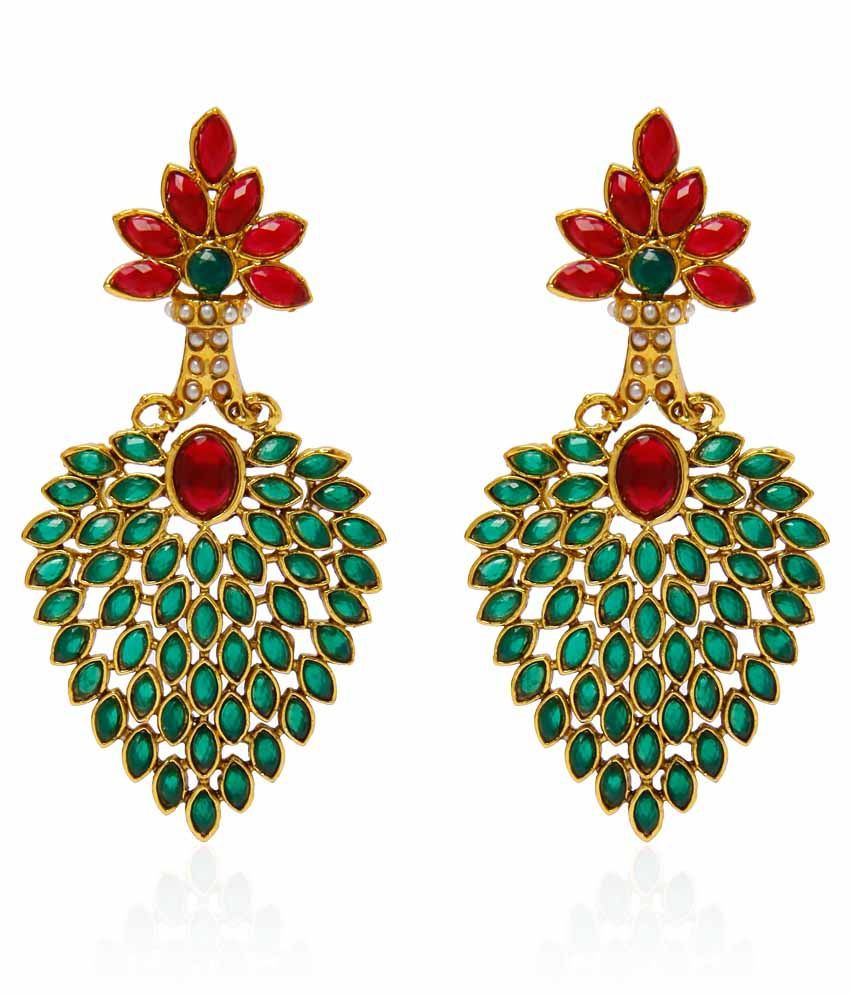 Jewels Galaxy Artistically Crafted Red Green Pearl Earrings