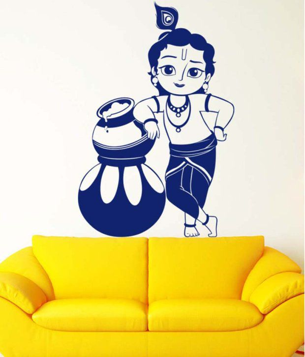 Trends On Wall Blue PVC Lord Krishna Wall Sticker - Buy Trends On ...