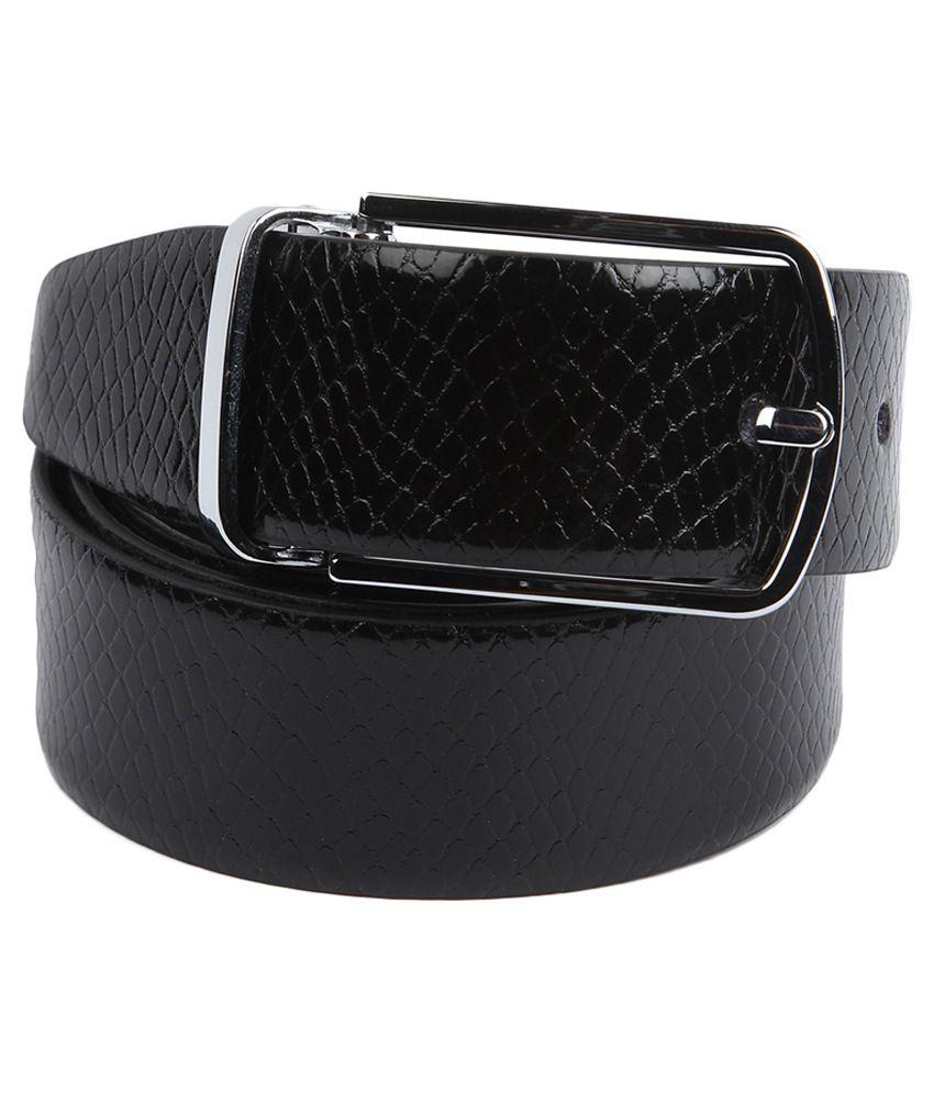 Waist Wire Black Leather Formal Reversible Belt