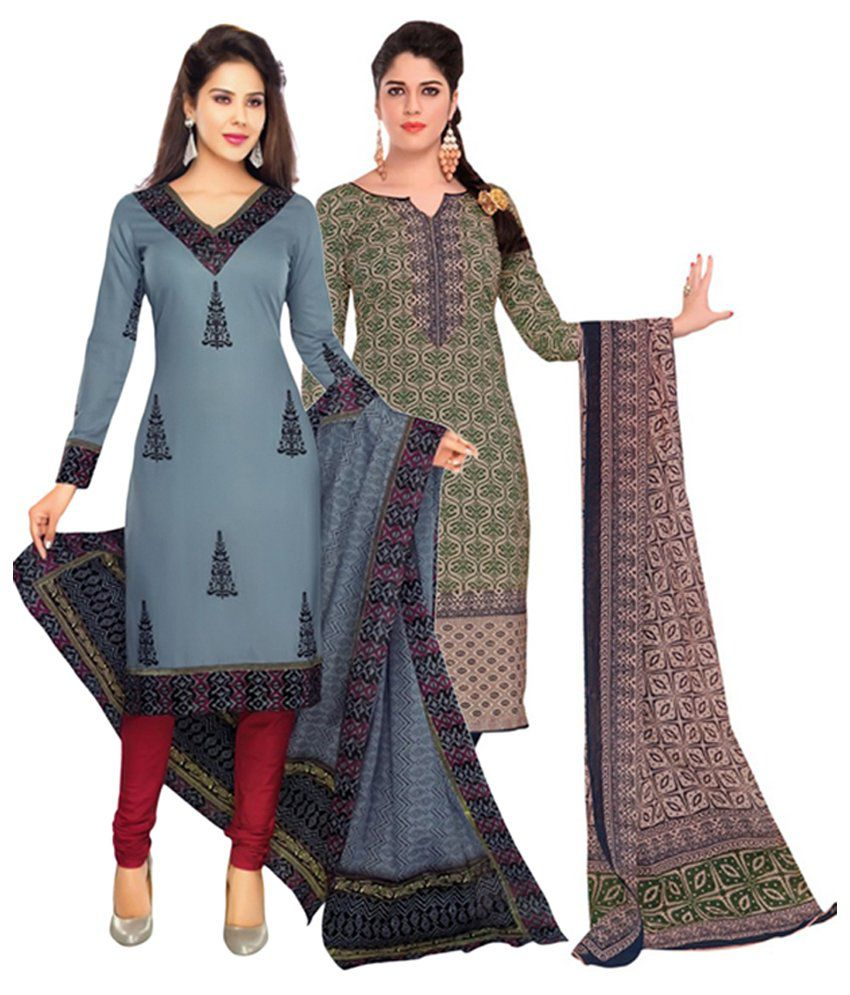 Giftsnfriends Gray & Green Printed Unstitched Cotton Dress Material (Pack of 2)