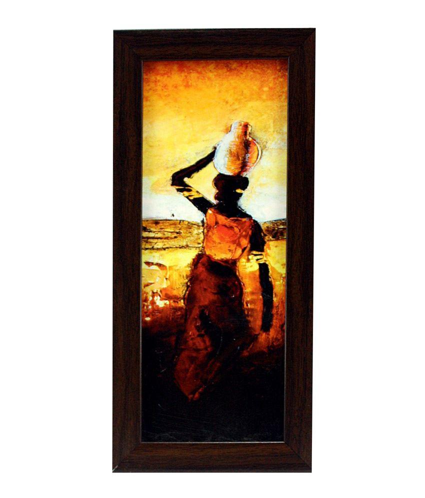 Indianara Matte Wooden Frame 3 Piece Set of Framed Wall Hanging: Buy ...