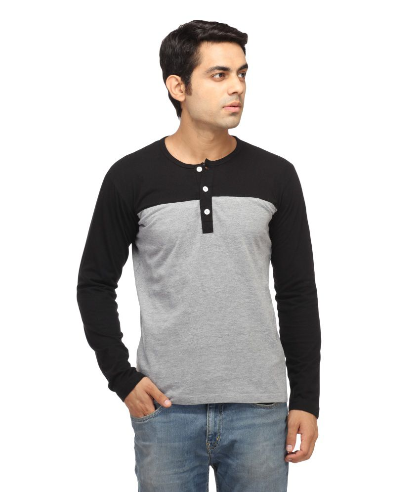 Leana Black & Grey Henley T-Shirt