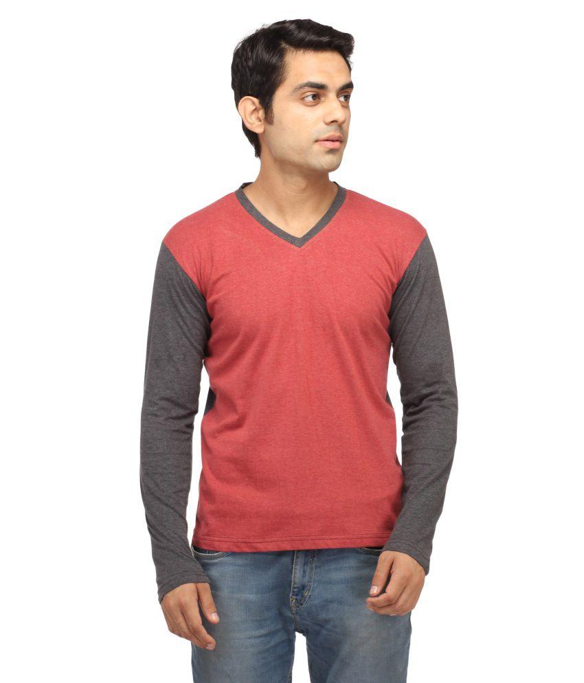 Leana Light Red & Light Gey V-Neck Henley T-Shirt