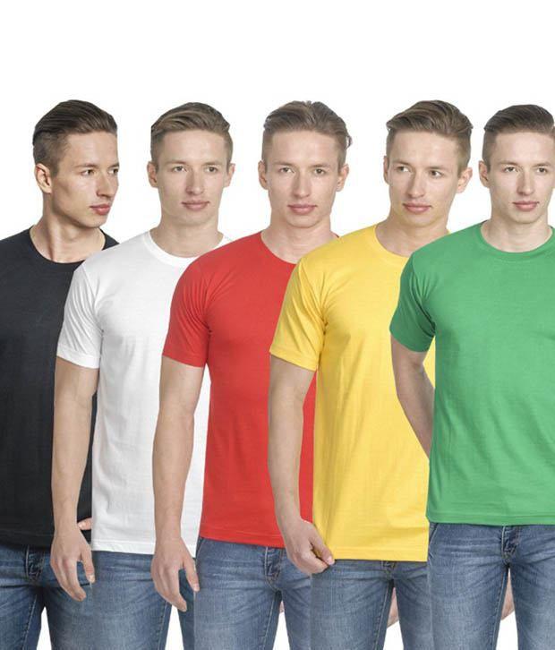 Lime Multicolor Cotton Blend T- Shirt - Combo Of 5