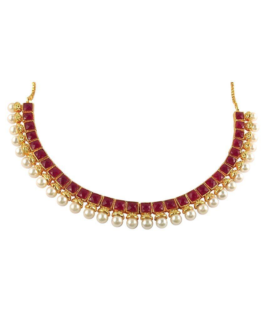 Ratnaraj Jewellery Traditional Antique Designer Pearl Pink Stone
