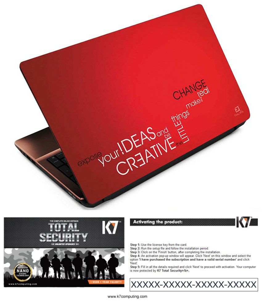 FineArts Laptop Skin with K7 Total Security Antivirus Software Activation Key Only for 1 User - 1 Year