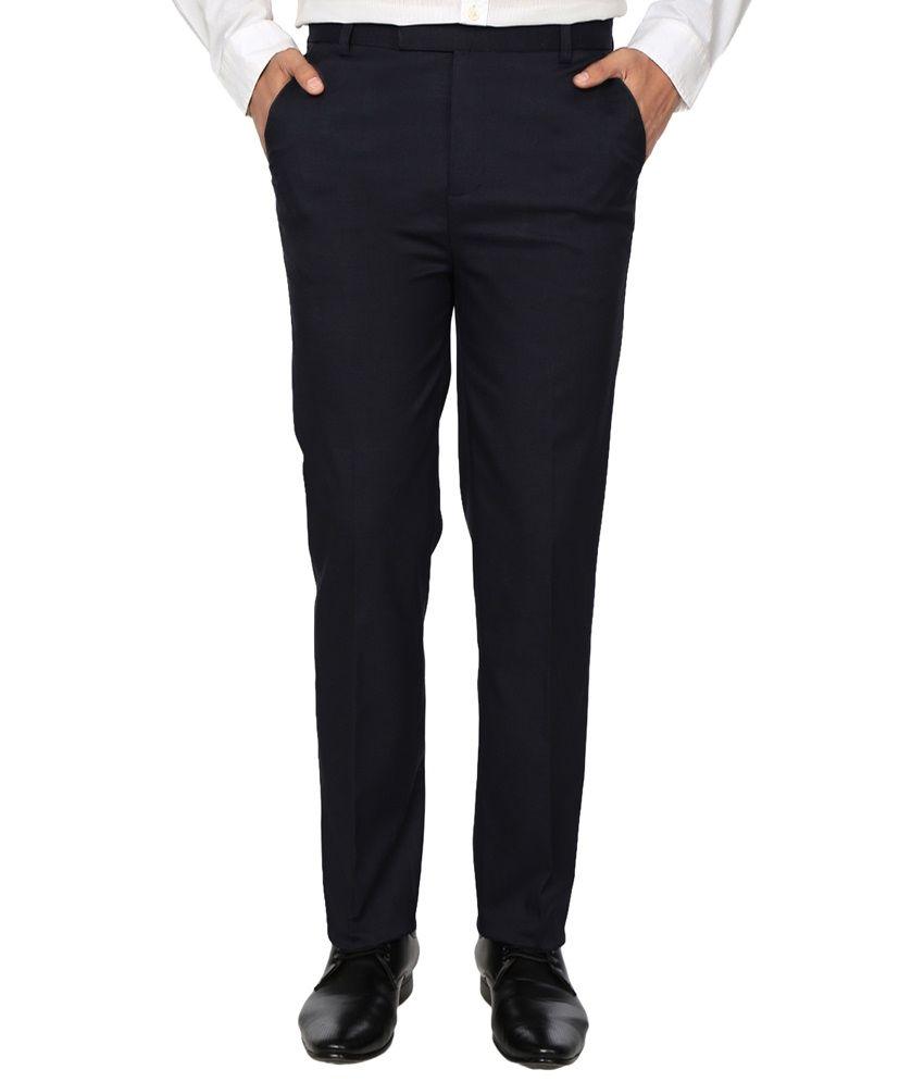 Fizzaro Blue Regular Fit Formal Trousers