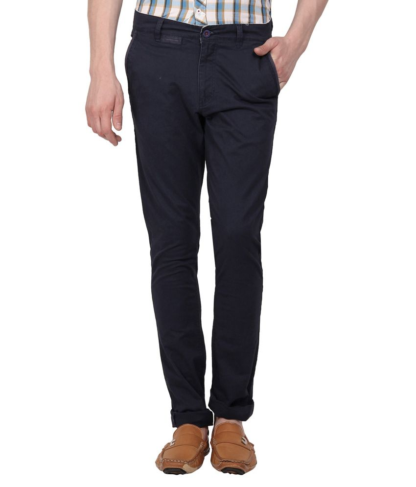 I-voc Navy Slim Fit Casual Chinos
