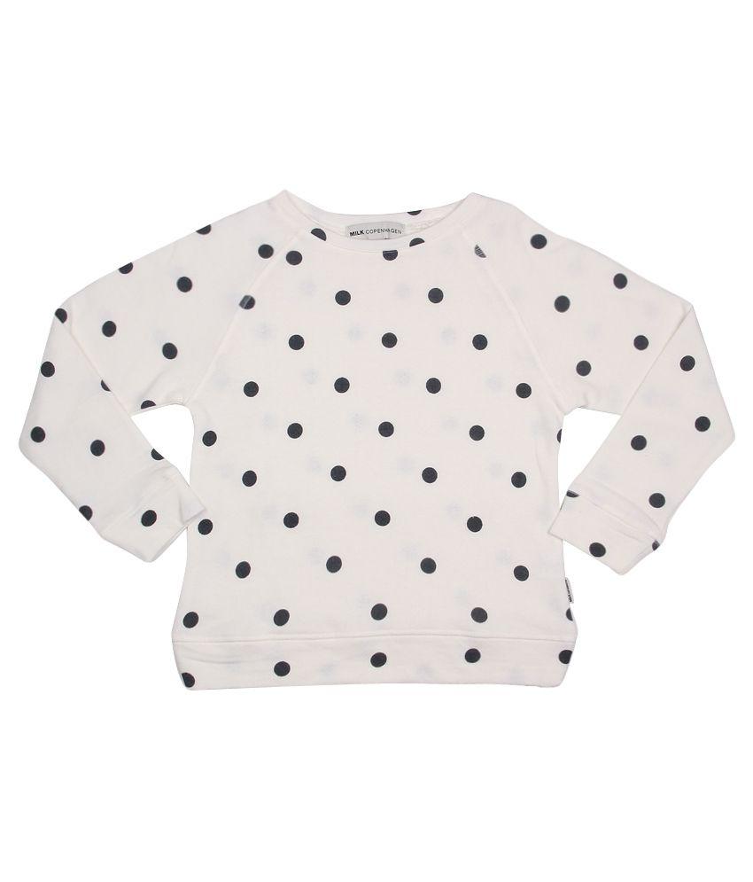 Milk Copenhagen GhostWhite Off White Polka Dot Printed Sweatshirt