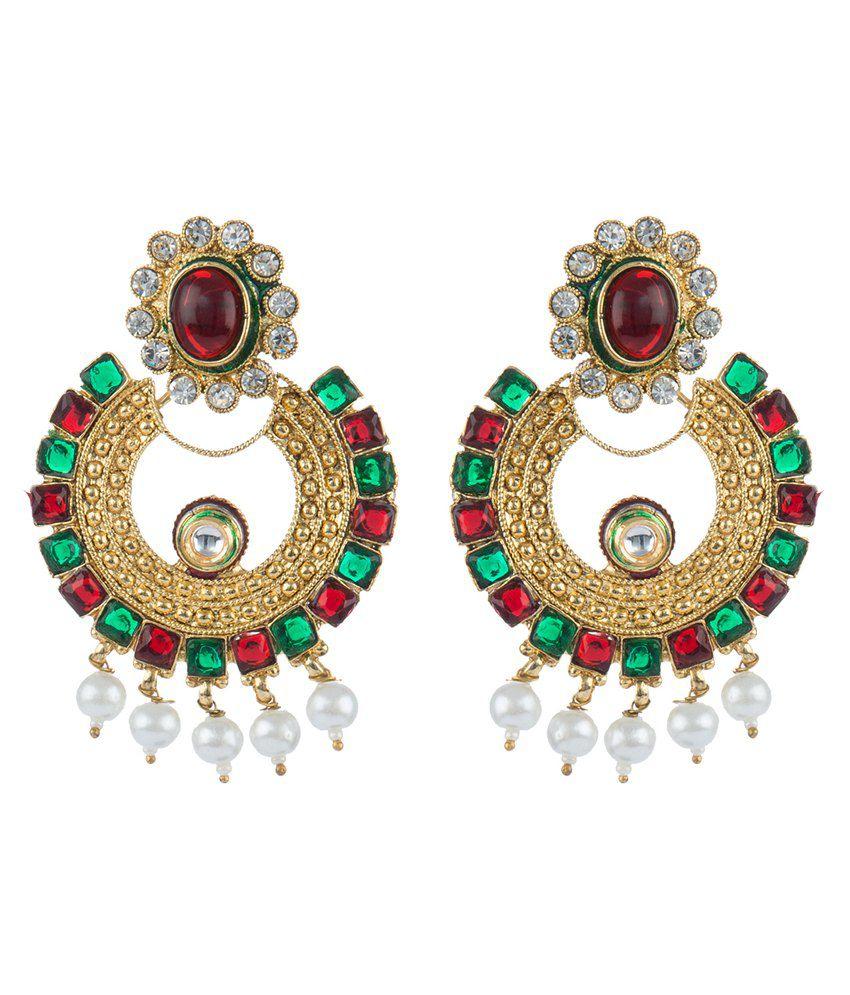 Mokanc Polki Artistic Hoops Earrings In Maroon Green