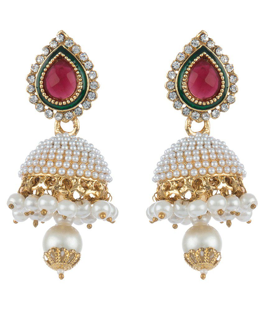 Mokanc Pearl Studed Jhumkis In Maroon Green