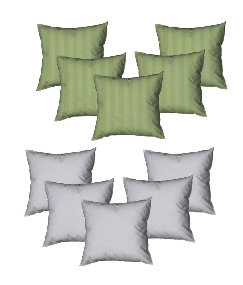 Rr Textile House Green Satin Cushion Cover Set Of 10 Pieces