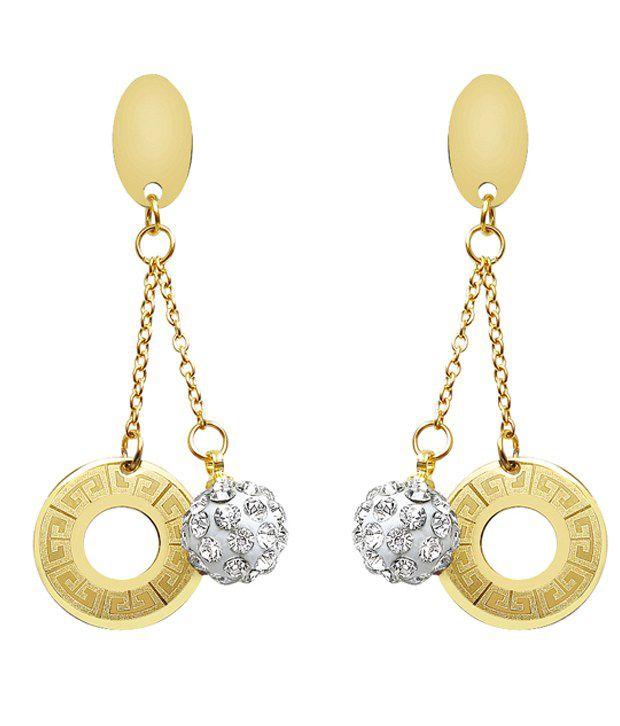 Sparkling Drop Silver Brass CZ Hanging| Dangle earrings