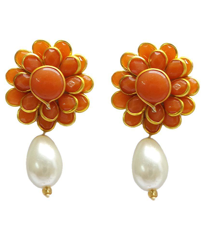 Charvee Style Diva Orange Drop Earrings