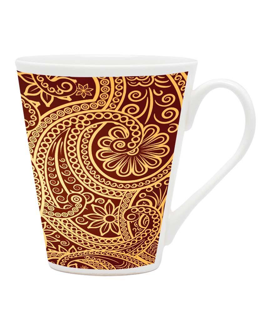 Homesogood Amazing Embroidery Design Pattern White Ceramic Latte Coffee Mug - 355 Ml