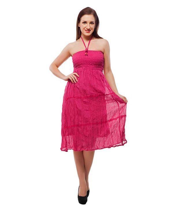 Indi Bargain Cotton Pink A- line Dress