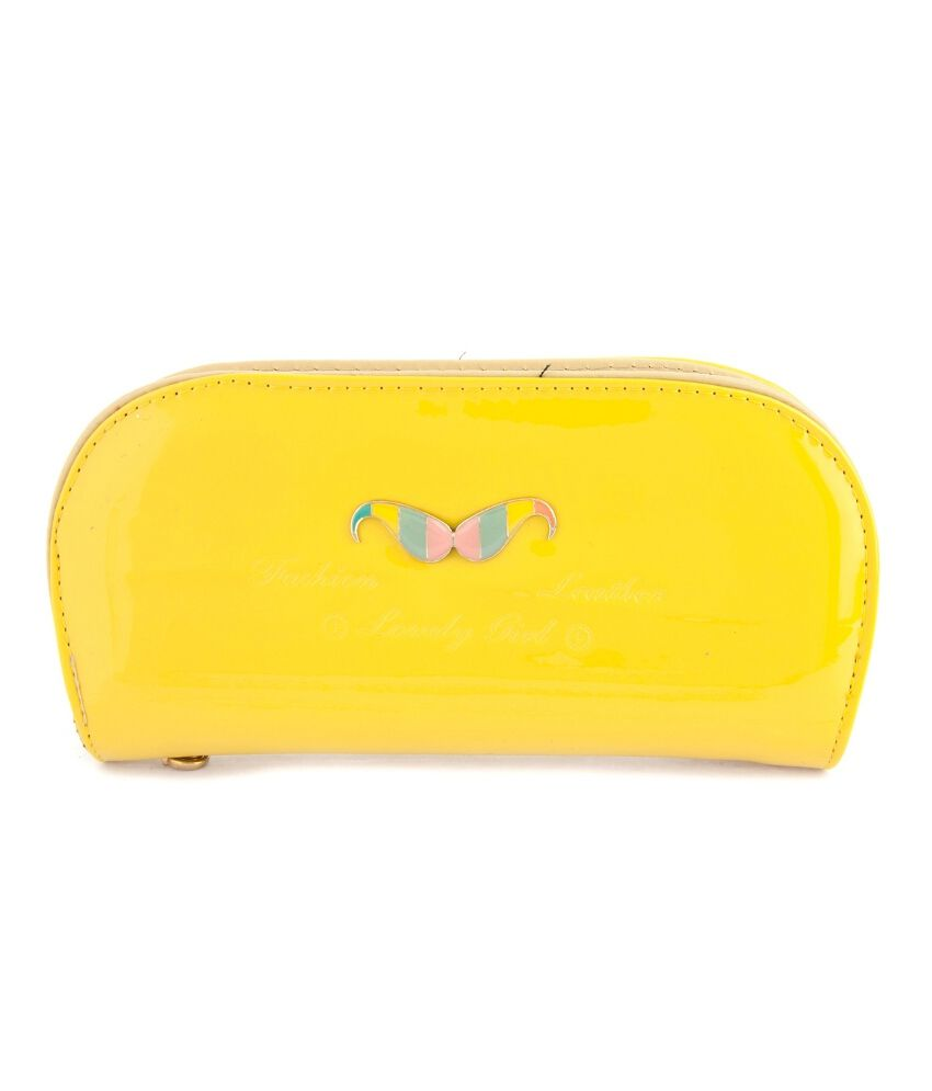 Iva Polyester Yellow Regular Clutch For Women