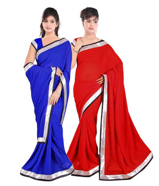 Kamal Sarees Blue and Red Pure Chiffon Pack of 2