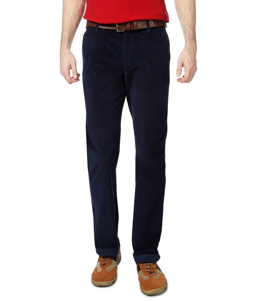 Byford by Pantaloons Navy Solid Flat Front Trouser for Men
