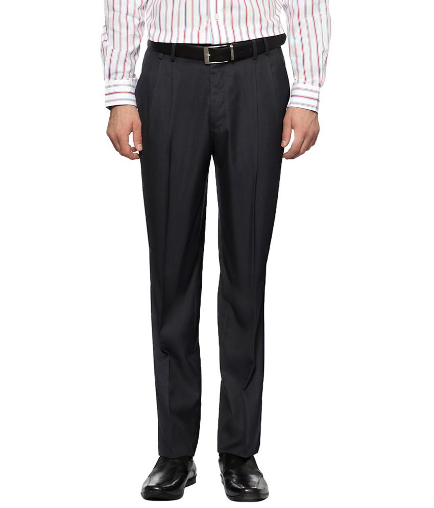 Van Heusen Gray Solid Formal Trouser for Men