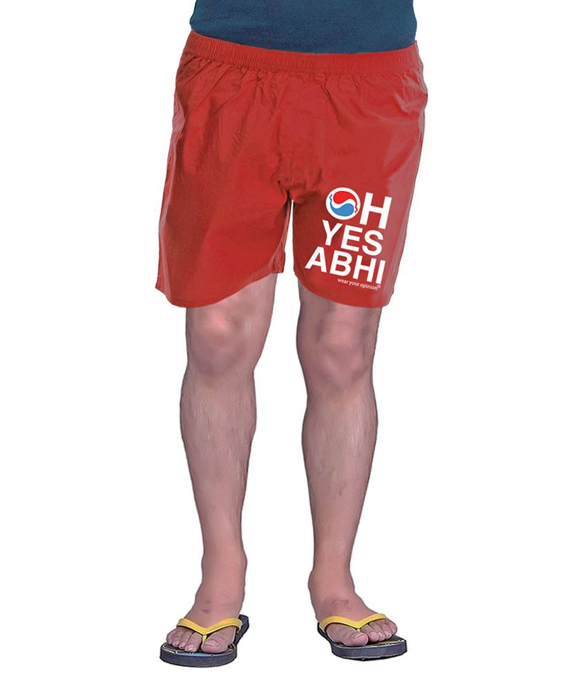 Wear Your Opinion Red Cotton Blend Printed Shorts