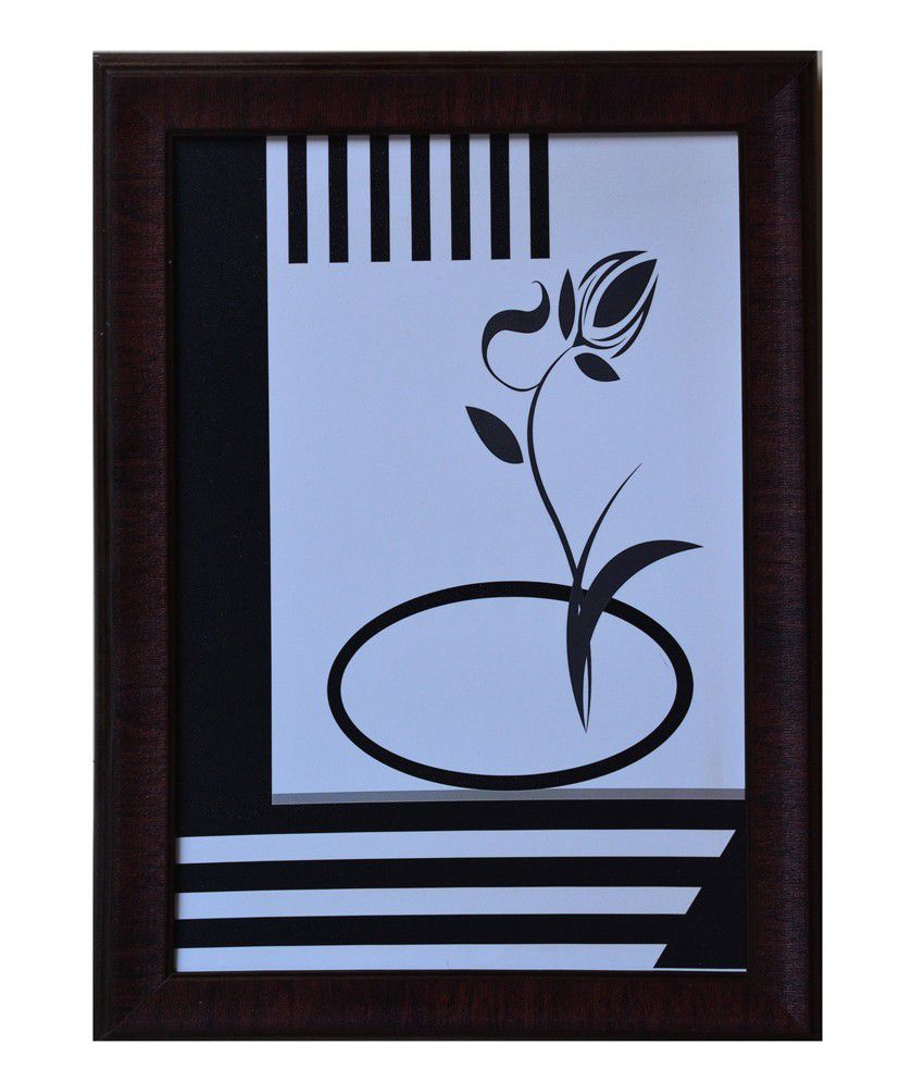 eCraftIndia Black and Grey Synthetic Wood Abstract Painting