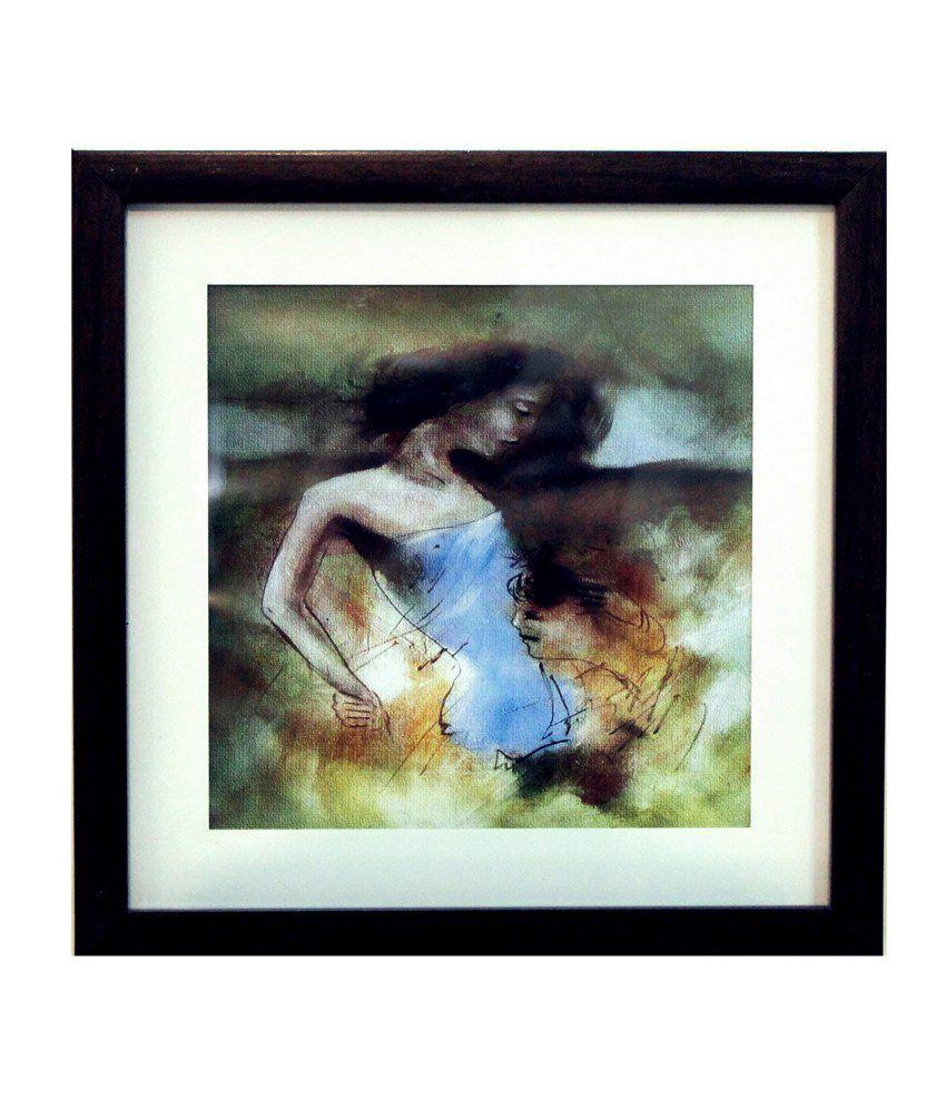 eCraftIndia Love Scene Satin Matt Texture Framed UV Art Print