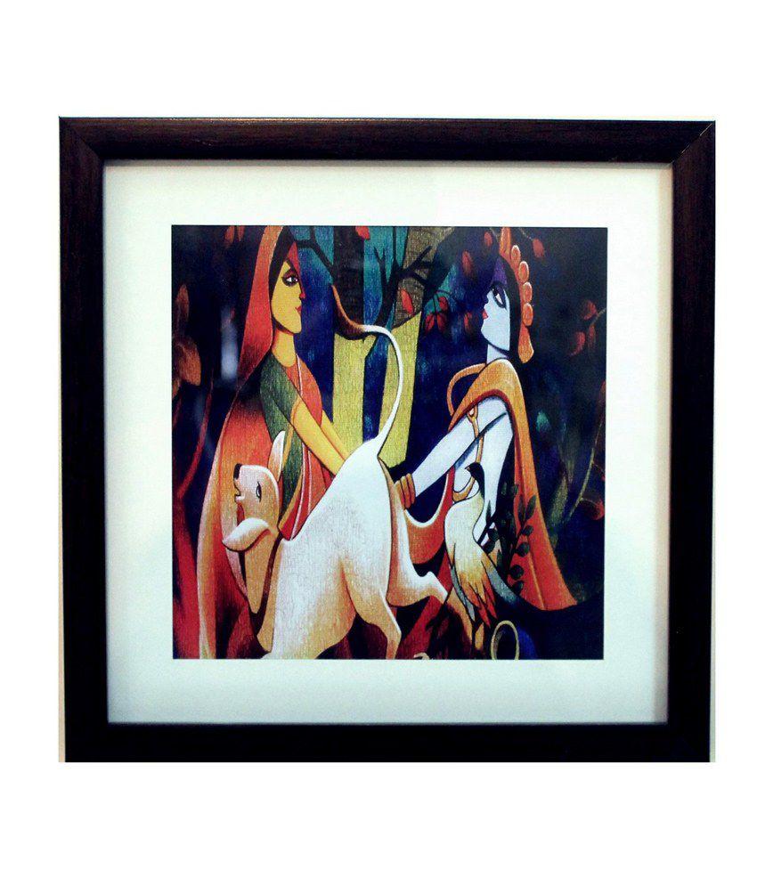 eCraftIndia Radha Krishna Satin Matt Texture Framed UV Art Print