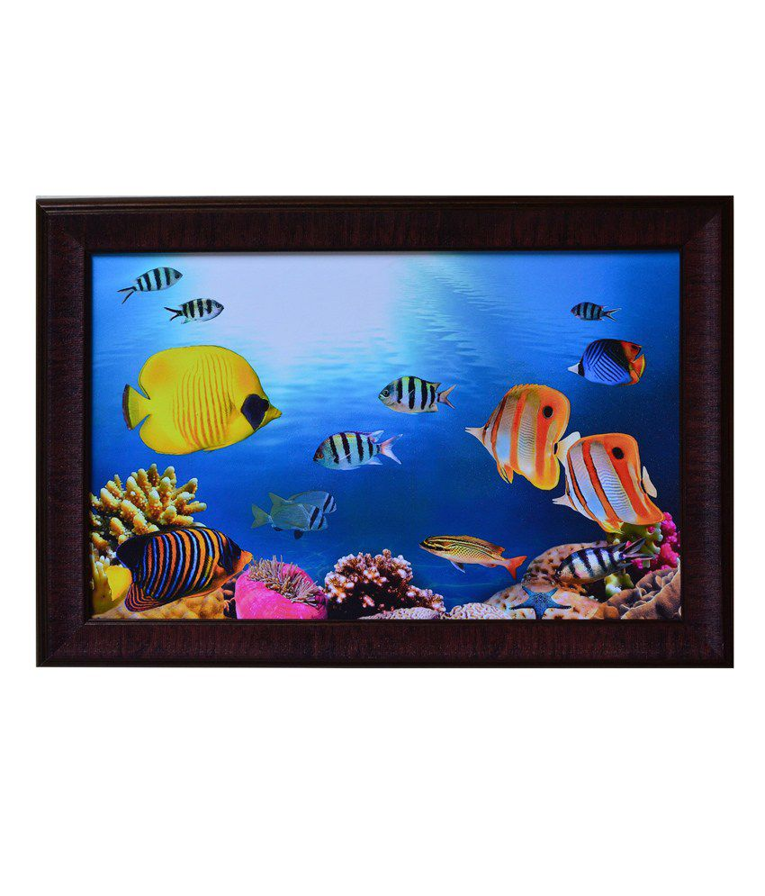 eCraftIndia Blue and Yellow Synthetic Wood Animal Painting