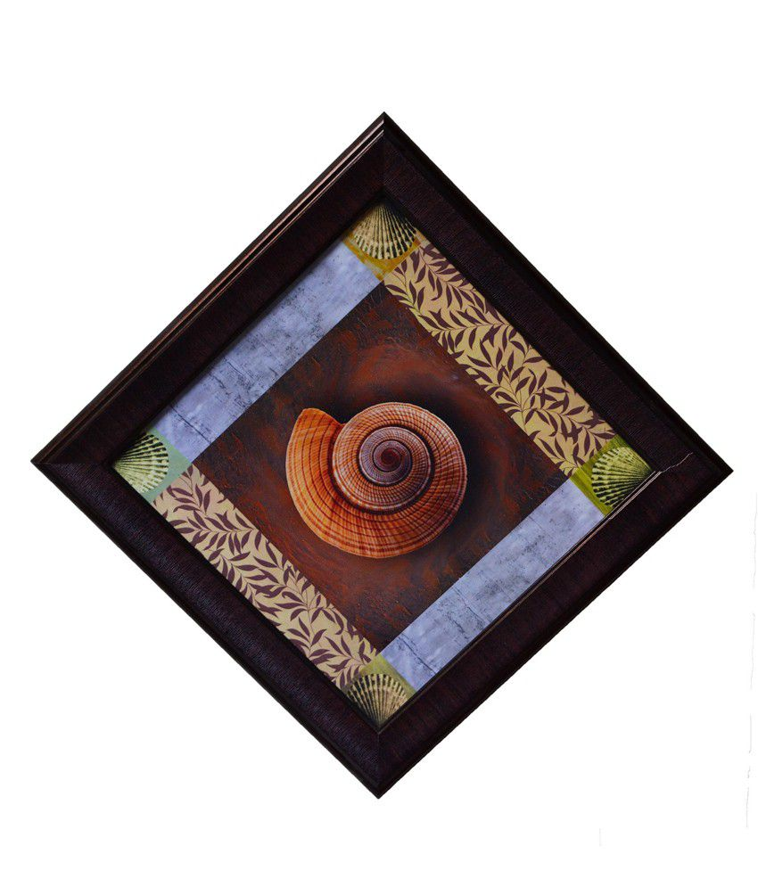 eCraftIndia Brown and Green Synthetic Wood Abstract Painting