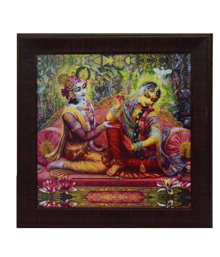 eCraftIndia Radha Krishna Design Satin Matt Texture Framed UV Art Print