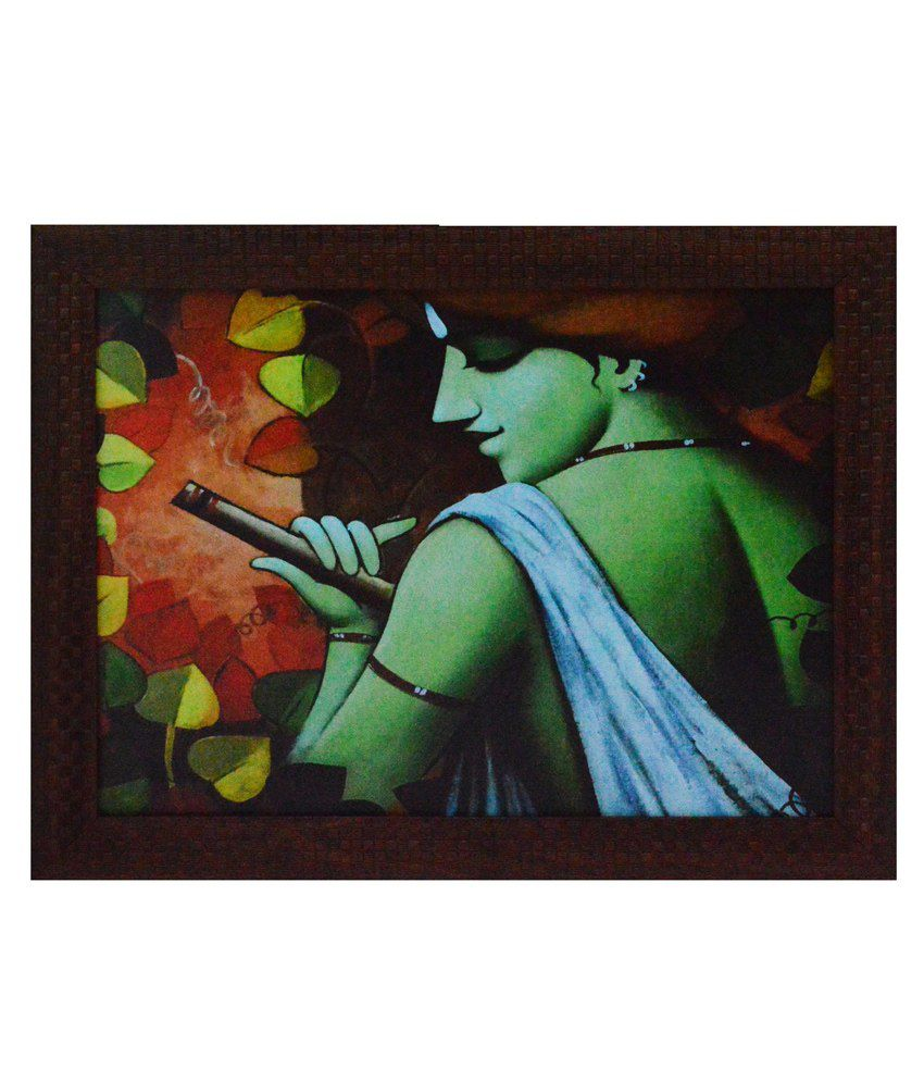 eCraftIndia Krishna having Flute Design Satin Matt Texture Framed UV Art Print